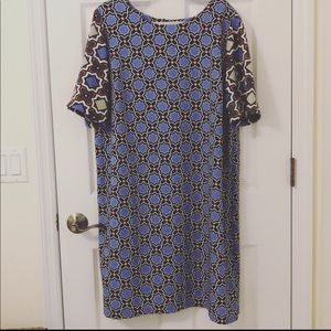 Gibson Latimer blue tile print shift dress